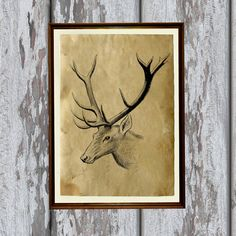 Hunter cabin decor Stag print Deer poster Forest by artkurka