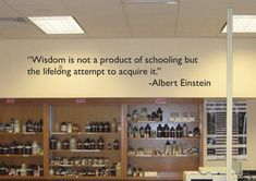 """Classroom Decor, Wisdom is not a product of schooling but a lifelong attempt to acquire it. Albert Einstein Wall Quote Decal 9""""x48"""", item#42..."""