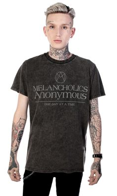 Melancholic T-Shirt #disturbiaclothing disturbia melancholics anonymous one dayat a time washed vintage metal alien goth occult grunge alternative punk