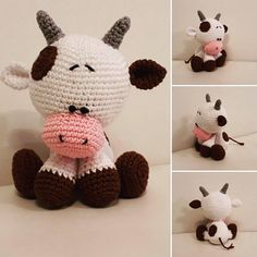 Pattern Cute little crochet cow Crochet Toys Patterns, Amigurumi Patterns, Stuffed Toys Patterns, Crochet Cow, Animal Hats, Doll Tutorial, Amigurumi Toys, Loom Knitting, Hello Kitty