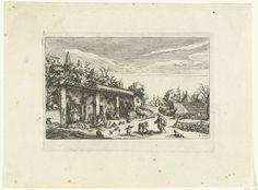 anoniem | Elias en de weduwe van Sarepta, mentioned on object Jacques Callot, 1619 - 1657 | Een man (Elia/Elias) spreekt op een erf met vee en hondjes een vrouw aan die met haar zoontje hout sprokkelt. Drie wasvrouwen kijken toe.
