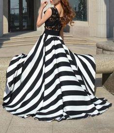 039628020e61 A Line Striped Lace Panel Maxi Flowy Prom Dress Chiffon Dress Long, Flowy  Prom Dresses