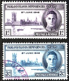 Falkland Islands Dependencies 1946 King George VI Victory Set Fine Used SG G17 G18 IL9 IL10 Other South Pacific and British Commonwealth Stamps HERE!