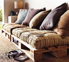 To make a couch all you need is a few pallets and some cushions