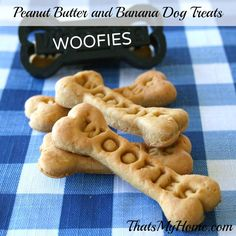 Peanut Butter and Banana Dog Treats made with real bananas and peanut butter.