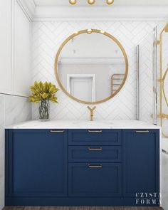 modern hamptons home navy bathroom with gold accents and marble tile
