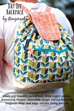Day Off Backpack PDF Sewing Pattern Adult and Child size Backpack Pattern, Backpack Purse, Diy Purse, Convertible Backpack, Day Off, Kids Backpacks, Sewing For Beginners, Knitted Bags, Pdf Sewing Patterns