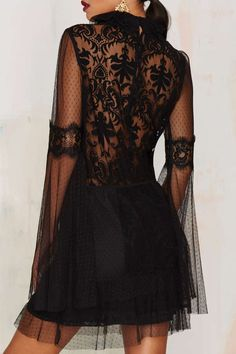 Nasty Gal In Your Lace Bell Sleeve Dress د.إ323.22