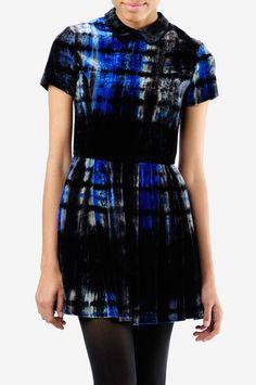 In Time - Short Sleeve Tie Dye Velvet Dress by OPENING CEREMONY