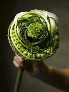 Stunning modern bridal bouquet; would also look good in a bowl