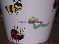 Bugs - handpainted flowerpot