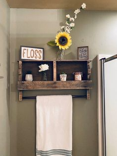 We make this from hand picked pallets Pallet Towel Rack, Bathroom Shelves, Clutter, Storage Solutions, Pallets, Custom Made, Home, Products, Bathroom Wall Shelves