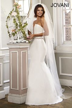 A strapless trumpet style dress like #Jovani #Bridal JB26207 will make you look and feel like the princess that you are. http://www.jovani.com/wedding-dresses/strapless-satin-wedding-dress-jb26207 #WeddingDress #BridalGown