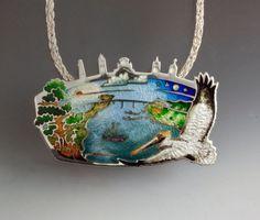 Apalach Bridge V by Kristin Anderson Enamel Jewelry, Jewelry Art, Jewelry Design, Diamond Jewelry, Jewelry Rings, Silver Jewelry, Sgraffito, Kristin Anderson, Vitreous Enamel
