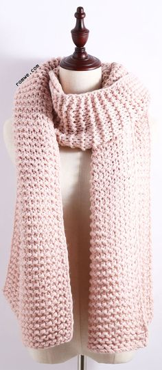 Not a pattern, just a lovely chunky knit pink scarf! Would be a simple garter stitch knitting project.