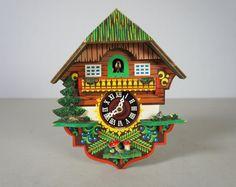 Vintage Hand Painted German Cuckoo Clock via Etsy