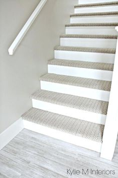 Stairs with carpet herringbone treads and painted white risers, looks like a runner. Benjamin Moore Edgecomb Gray on stairwell wall. Kylie M Interiors E-Design Stairwell Wall, Dark Hallway, Tile Stairs, Basement Stairs, Basement Carpet, Basement Ideas, Stairs Flooring, Basement Plans, Entry Hallway