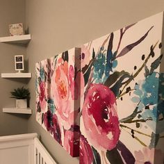 Floral Wall Art, Arte Floral, Mini Canvas Art, Canvas Wall Art, Watercolor Flowers, Watercolor Paintings, Office Canvas, Floral Drawing, Islamic Wall Art