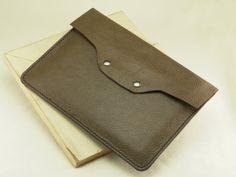 iPad Case Olive Green Leather iPad Sleeve w Tan by FleurdeLeather