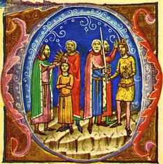 Béla is crowned king after his nephew, Solomon is deprived of the crown (from the Illuminated Chronicle)