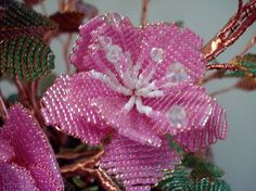 Beaded Plant Sweet Pink by artofbeads on Etsy