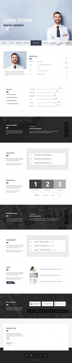 'CVitae' is a One Page HTML Resume template built to present your CV online. The long scrolling template includes 15 different intro layouts to help align with how you want that first impression. Features include sticky header navigation, about profile, skills graph, award slider, education accordion, unique portfolio pop-up gallery, testimonial slider and ends with a neat contact form. Nice touch with the signature right at the end there.