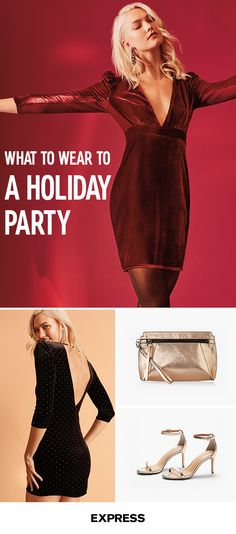 Whether it's a formal black-tie event or a casual happy hour shindig, holiday party season is in full swing and it's the perfect opportunity to work some of this year's hottest trends into your outfit. Fulfill your velvet crush with this lush, festive-red number. Feel like opting for the LBD? This backless dress with sequin details is a sure-fire conversation starter. Find the perfect dress for you at Express.com.
