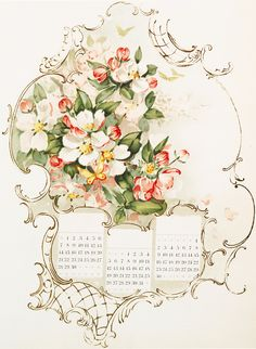 Floral Calendar Image - Graphics Fairy