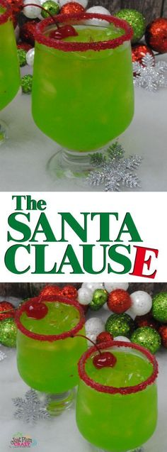 Sit down and watch The Santa Clause movie with The Santa Clause Cocktail recipe. - Watch - Ideas of Watch - Sit down and watch The Santa Clause movie with The Santa Clause Cocktail recipe. It fits the bill. A little fruity with a big kick! Bar Drinks, Cocktail Drinks, Yummy Drinks, Cocktail Recipes, Beverages, Cocktail Movie, Vodka Cocktails, The Grinch Cocktail Recipe, Martinis