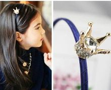 2015 Crown big gem Lace children kids baby girls princess hair accessories hair bands headwear bow flower wholesale(China (Mainland))