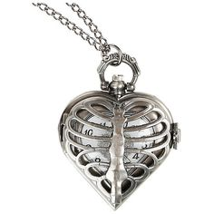 Burnished Silver Tone Heart Rib Cage Pocket Watch Necklace Hot Topic (22 NZD) ❤ liked on Polyvore featuring jewelry, necklaces, heart necklace, heart pendant necklace, heart locket pendant, heart shaped locket necklace and heart locket