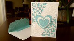 Anniversary card made with Anna Griffin Flourish Cricut Cartridge and Anna Griffin Acanthus embossing folder, ivory and light blue card stock.