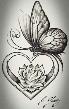 heart shape butterfly tattoo design tattoos tattoos, butterfly - rose and butterfly drawing Rose And Butterfly Tattoo, Butterfly Drawing, Butterfly Tattoo Designs, Tattoo Flowers, Butterfly Wings, Rose Heart Tattoo, Heart With Wings Tattoo, Butterfly Tattoos For Women, Feather Drawing