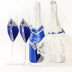 Wedding Glasses Royal Blue Wedding Champagne Glasses от AlisaCard