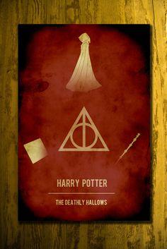 Movie poster vintage poster retro print film poster Harry Potter 11x17 Deathly Hallows. $19.00, via Etsy.