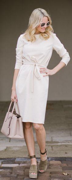 #fashion #outfits  White Dress & Pink Leather Tote Bag & Green Sandal Platform