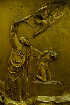 Abraham and Isaac. Doors of Duomo, Florence, Italy. Lorenzo Ghiberti, 15C, Museo dell'Opera del Duomo