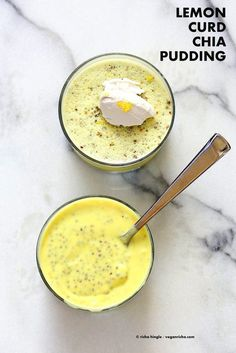 Lemon Curd Chia Pudding Thick Lemon Coconut Pudding with Chia seeds This zesty pudding is a refreshing treat for Summer Serve wih whipped coconut cream Vegan glutenfree n. Chia Pudding Vegan, Coconut Pudding, Vegan Chia Seed Pudding, Matcha Chia Pudding, Vegan Sweets, Healthy Sweets, Healthy Snacks, Raw Food Recipes, Dessert Recipes
