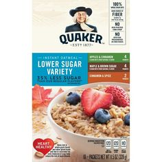 Quaker oatmeal nutrition facts brown sugar fred meyer better oats 100 calories instant oatmeal maple brown sugar brown sugar lower instant oatmeal eat your oatmeal… The Oatmeal, Maple Brown Sugar Oatmeal, Oatmeal Nutrition Facts, Quaker Instant Oatmeal, Oatmeal Flavors, Oatmeal Squares, Whole Grain Foods, Calories In Sugar, Gourmet