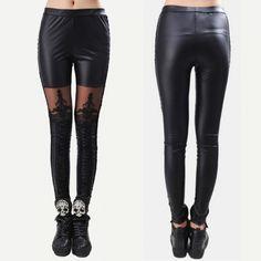 542ba5e2b2e Hot Sexy Fashion Women Lace-up Faux PU Leather Lace Leggings Pants Retail  Wholesale