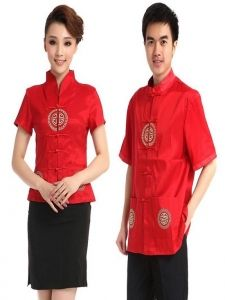 Đồng phục phục vụ 011. Size: S,M,L,XL. Màu sắc: Đỏ, Đen.  Chất liệu vải tốt, bền đẹp, đường may sắc sảo. LH: 0908149946 - Email: dongphucphuhoang@gmail.com Summer Shorts, Summer Outfits, Waitress Outfit, Waiter Uniform, Hotel Uniform, Restaurant Uniforms, Scrubs Uniform, Casual Restaurants, Chinese Restaurant