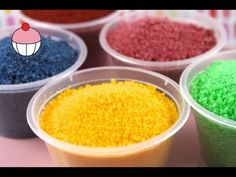Learn how to make your own coloured sugar sprinkles (sanding sugar) at home in a just a few minutes! (YouTube video)
