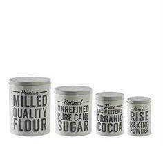 Mason & Cash Baker Street Baking Storage Tins Set of 4 - Flour, Sugar, Cocoa and Baking Powder