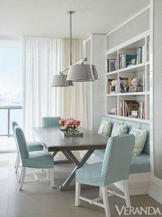 Light blue dining chairs, farmhouse table