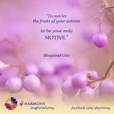 """""""Do not let the fruits of your actions to be your only motive."""" - Bhagavad Gita"""
