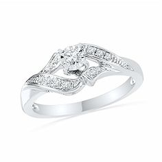 Sterling Silver White Round Diamond Promise Ring 16 CTTW *** Details can be found by clicking on the image.