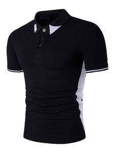 Polo de algodón mezclado de color-blocking de cuello vuelto estilo informal Modelo Estándar con manga corta para ocasión informal