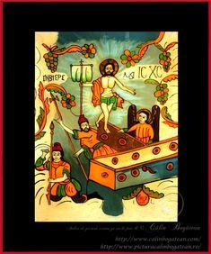 Învierea Domnului icoană naivă pictată pe dosul sticlei în ulei pictură tradițională lucrare de artă religioasă icoană ortodoxă pe sticlă icoană Învierea Domnului icoană  pictată  pe sticlă cu Învierea Domnului