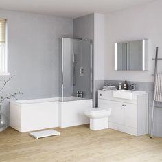 Harper Right Hand Shower Bath & Gloss White Combined Vanity Unit Suite - Florence Pan Sink Vanity Unit, Vanity Units, Next Bathroom, Bathroom Ideas, Back To Wall Toilets, Basin Unit, Bath Screens, Complete Bathrooms, Small Bathrooms