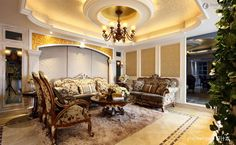 Living Room Design with Luxury Ceiling Ideas : Effect Of Neo Classical Living Room Ceiling Molding